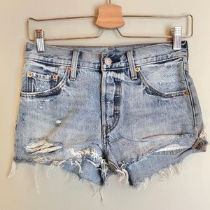Levis distressed button up jean shorts